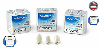 Dental Polycarbonate Crowns Temporary 5/pk. - Mark3 all size available