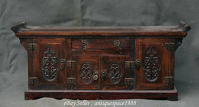 """21"""" Antique China Huanghuali Wood Carved Flower Cabinet Jewelry Boxes Table Desk"""