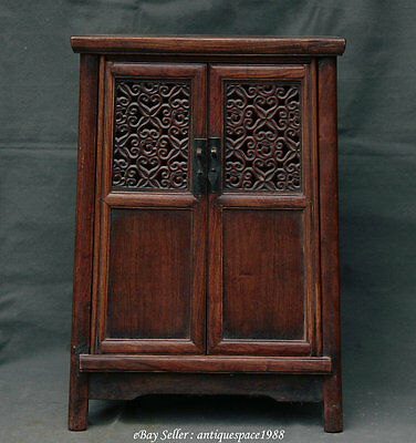"""23"""" Antique China Huanghuali Wood Hollow Out Classical Furniture Cabinet Cupboar"""
