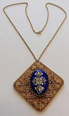 Vintage Miriam Haskell Signed Gold And Blue Enameled Pendant Necklace