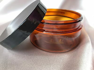 10 x 100g empty AMBER jar + BLACK lid, pet plastic - cosmetic, cream, food