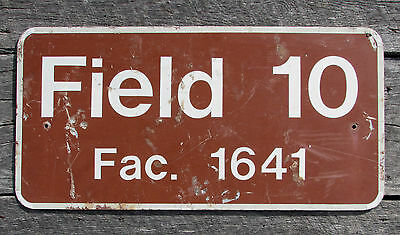 Vintage FIELD 10 METAL ARMY SIGN ROAD HIGHWAY STREET WALL DECOR football park