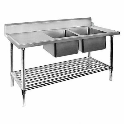 Dishwasher Inlet Table w Double Bowl Sink & Pot Shelf, 2400mm, Right, Commercial