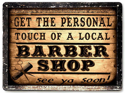 BARBER SHOP METAL sign LOCAL hair salon VINTAGE style nice GIFT wall decor 004