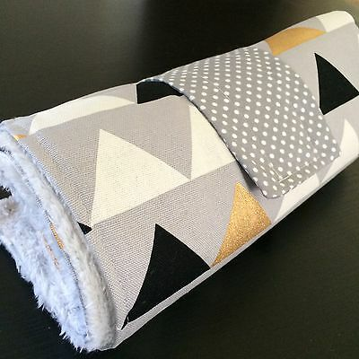 Large Waterproof Change mat  in Grey, metallic Gold, lrg triangles