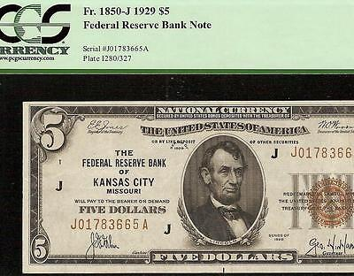 1929 $5 DOLLAR BILL KANSAS CITY FRBN BANK NOTE NATIONAL CURRENCY Fr 1850-J PCGS