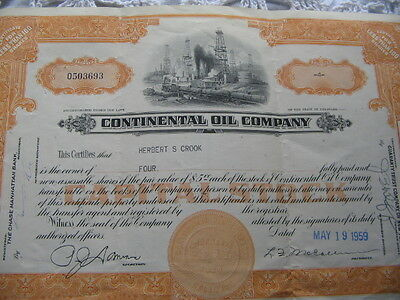 Antique/Vintage Continental Oil Company Capital Stock Certificate~1959~ 4 shares