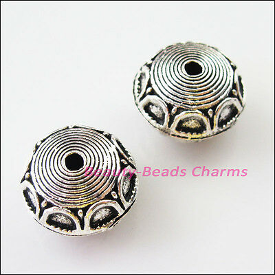 2Pcs Tibetan Silver Round Flat Spacer Beads Charms 18.5mm