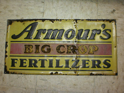 Vtg Armours Big Crop Fertilizers Metal Sign Store Advertisement Farm Feed Seed