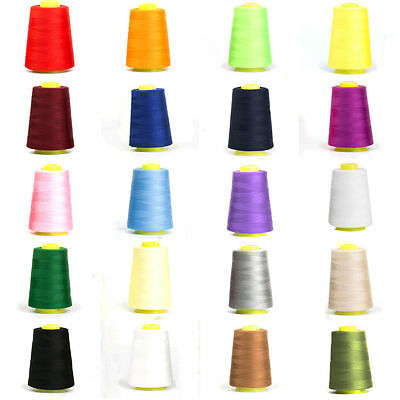 3000YDS POLYESTER OVERLOCKING THREAD INDUSTRIAL SEWING Upholstery CONES 50 COLOR