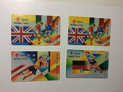 World Cup Soccer rare 4 phonecards set 1994