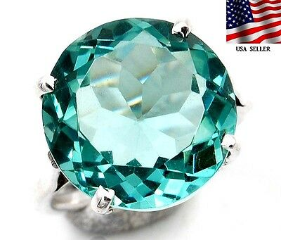 6CT Aquamarine 925 Solid Sterling Silver Ring Sz 5.5