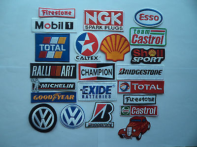 22 Motor Sport Patches Iron on - Sew On Motor Racing Pit crew Mechanic Overalls