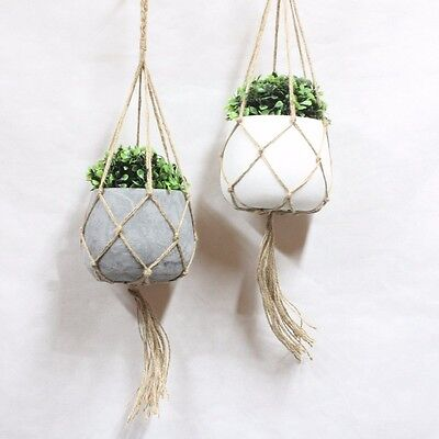 Hanging Concrete Planter Home Garden Decoration Grey White Holder Green Plant