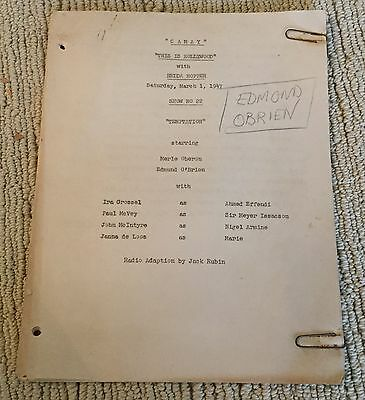 Exc Orig 1947 This Is Hollywood Edmond O'brien Noted Temptation Radio Script Fn