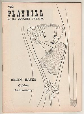 """Playbill """"A View From The Bridge"""" 1955 Hirschfeld COVER Drawing of Helen Hayes"""