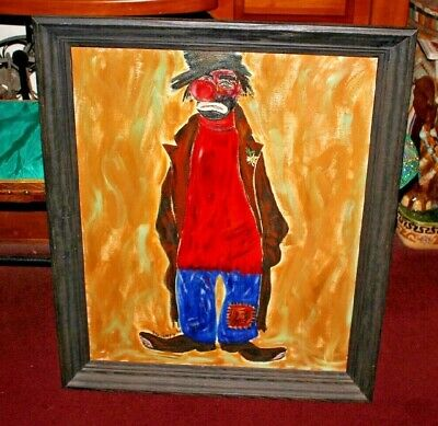 Vintage Clown Oil Painting Signed Gautney 1968-Large Clown Painting-Folk Art