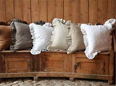Shabby Pre washed 100% Linen Ruffle Euro sham pillow case ruffled 5 color