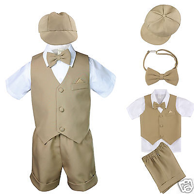 New Baby Boy & Toddler Formal Vest shorts + Hat Suit New born to 4T Khaki