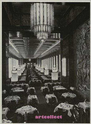 Vintage Book Image (1997): First Class Dining Room, Normandie. Liner. Ship.