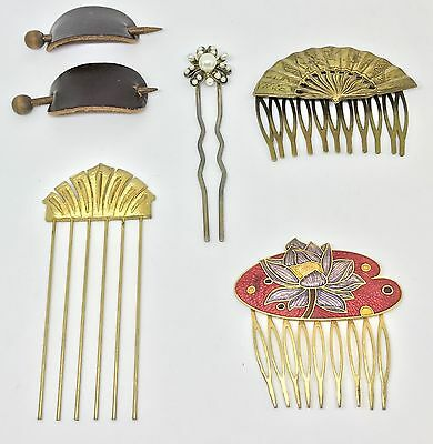 Vintage Hair Barrette Clip Cloisonné Combs Metal Faux Pearl Lot Free Shipping