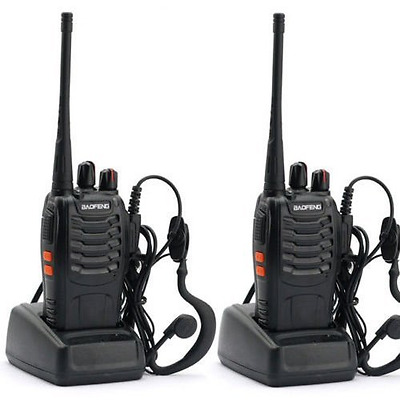2Pcs Rechargeable Walkie Talkies Two Way Radio UHF 400-470MHz 16CH With Earpiece
