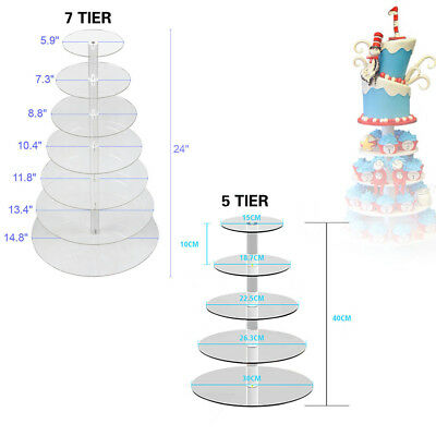 5/7 Tier Clear Acrylic Round Cup Cake Cupcake Stand Wedding Birthday Party Stand