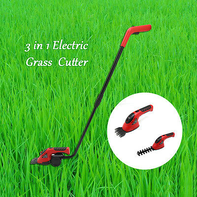 3.6V 3in1 Rechargeable Li-Ion Cordless Hedge Trimmer Garden Mini Grass Cutter