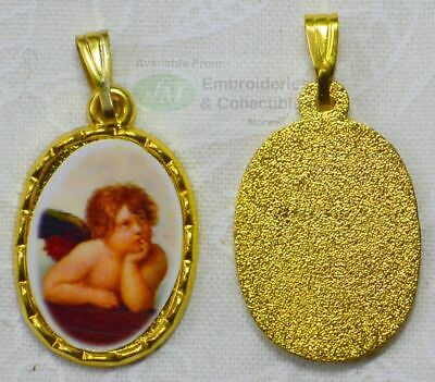 Cherub Picture Medal Pendant, 20x15mm Gold Tone Border, Made In Italy Quality