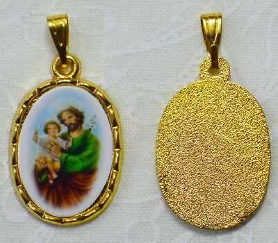 St Joseph Picture Medal Pendant, 20x15mm Gold Tone Border, Made In Italy Quality