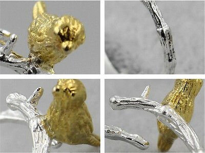 New Cute Silver/Gold Plated Ring Creative Tree Branch Birds Opening Ring Female