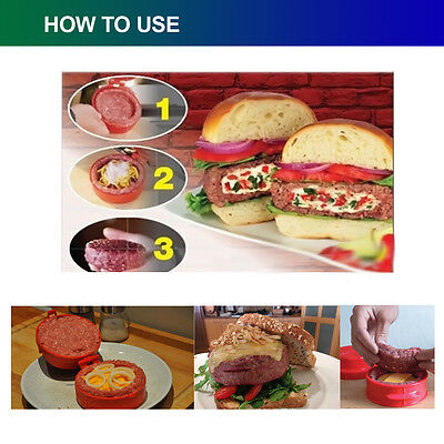 Stufz Stuffed Hamburger Burger Home Press Meat Pizza Patty Maker DIY Mould Tool