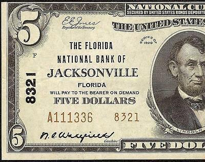 1929 $5 Dollar Bill Jacksonville Florida Ty2 National Bank Note Currency Ch 8321