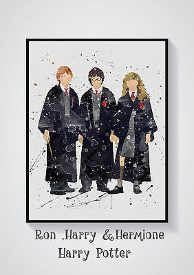 Harry Potter  Watercolour  Wall Prints - Sizes  10x8, A4, A3  Lots of Styes
