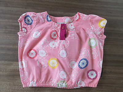 Polarn O Pyret baby girls pink top with shapes design, age 4-6 m