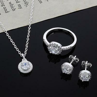 Sweet 925 Silver Plated Crystal Necklace Earring Ring Set Jewelry