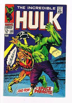 Incredible Hulk # 103 And Now... The Space Parasite ! grade 8.0 scarce book !!