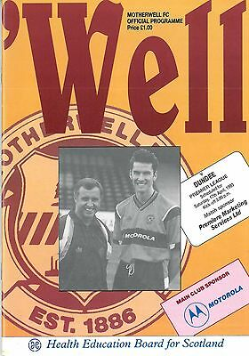 Motherwell v Dundee FC 17/4/1993 Premier Division match programme