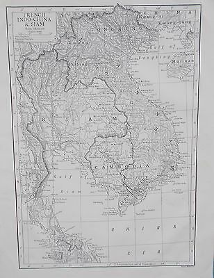 Map of French Indo China.1911. Encyclopedia Britannica. VIETNAM. THAILAND