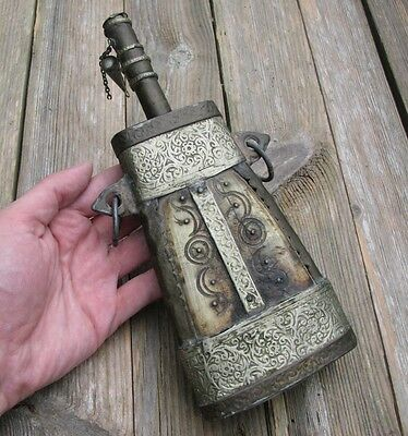 Antique Metal and Bone Powder Flask - Middle Eastern