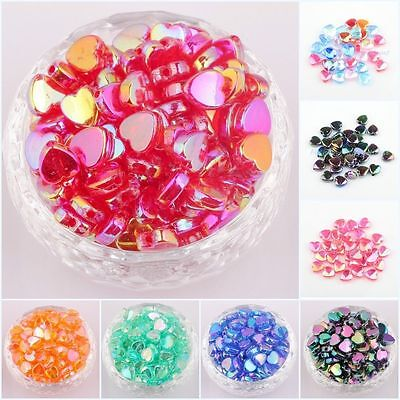 Wholesale 200pcs AB Color Acrylic Heart-Shaped Spacer Beads For Jewelry 8/9 mm