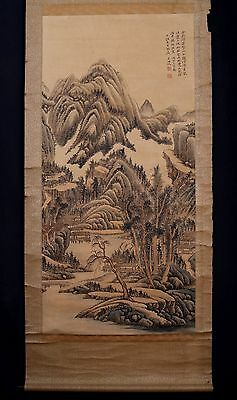 Very Long Old Chinese Scroll Hand Painting Landscape Marked WuHuFan PM008