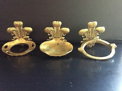 Vintage Heavy Brass Bathroom Fixtures, Plume Of Feathers, Soap Dish, Towel Hold