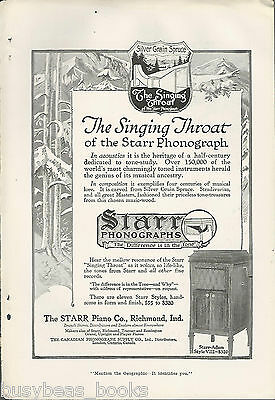 1917 STARR PHONOGRAPH advertisement, Starr Piano Co, Singing Throat
