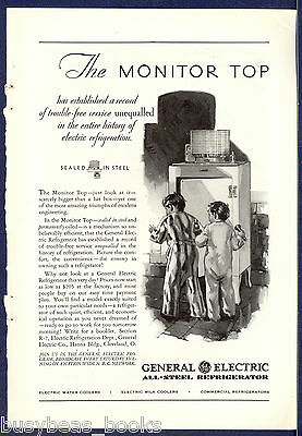 1930 GENERAL ELECTRIC advertisement, early monitor-top refrigerator kids kitchen