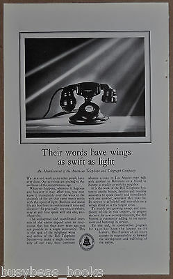 1930 BELL TELEPHONE advertisement AT&T, photo of Western Electric 102 desk phone