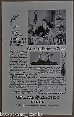 1930 GENERAL ELECTRIC CLOCK advertisement, Telechron, wall & mantle clocks