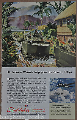 1945 STUDEBAKER Weasel advertisement, WEASEL tracked transport, WWII Philippines