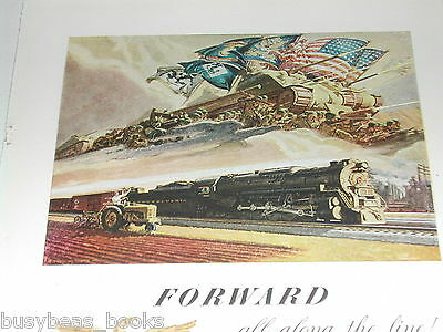 1944 Pennsylvania RR advertisement, PENNSY steam locomotive, WWII tank