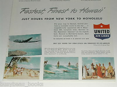1949 United Air Lines ad, DC-6 photos, Hawaii